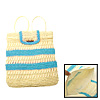Light Blue Stripe Straw Backpack Bag Knapsack for Lady