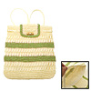 Charming Lady's Kelly Stripe Knit Straw Backpack Bag Knapsack