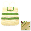 Charming Lady's Green Stripe Straw Backpack Bag Knapsack