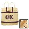 Purple OK Stripe Straw Backpack Bag Knapsack for Lady