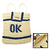 Blue OK Stripe Straw Backpack Bag Knapsack for Lady