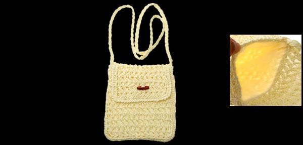 Lightweight Reseau Straw Knit Bag with Shoulder Band