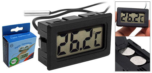 Battery Powered LCD Refrigerator Freezer Thermometer Black