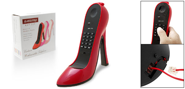 Gorgeous High-Heel Stiletto Shoe Loafer Telephone Corded Phone Red