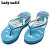Beach Pattern Lady's Anti-Slip High-heeled Flip Flop Slippers