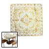 Chic Doily Runner Cover Plastic Tablecloth with Golden Embroidere...