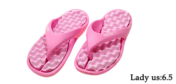 Lady's Healthy Pink Foam Massage Flip Flop Slippers