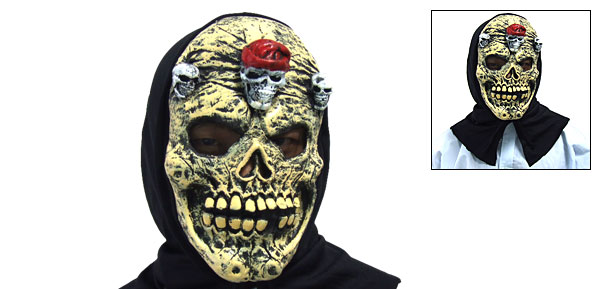 Yellow Three Skulls Inlaying Gruesome Evil Skull Halloween Mask