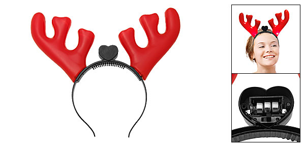 Oversize Red Deer Devil Horns Halloween Costume Headband with Light