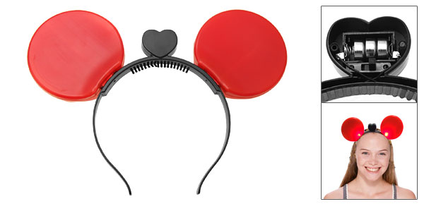 Light UP Red Mouse Ears Headband Halloween Costume Accessory