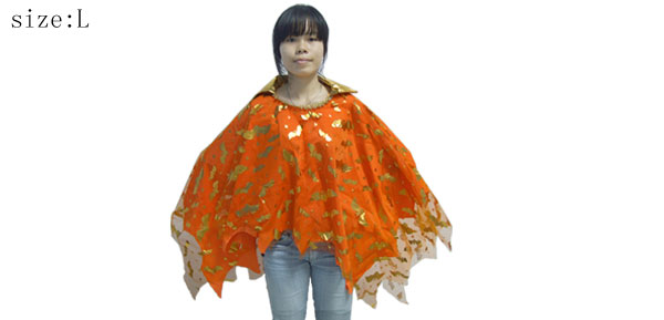 Glitter Bat Girls Orange Robe Cape Halloween Costume Accessory