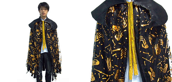 Horrible Golden Skull Black Halloween Cape Costume