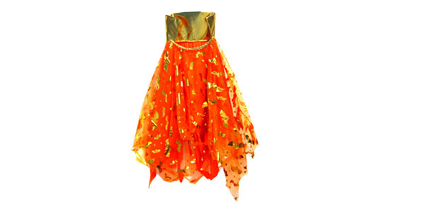 Orange Glitter Girls Bat Cape Halloween Costume with Collar