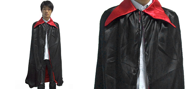 Long Red Black Velvet Vampire Cape Halloween Costume Accessory