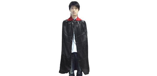 Adult Red Collar Black Halloween Cape Costume