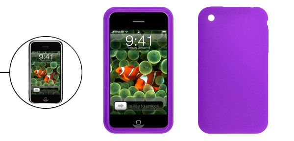 Anti-Slip Purple Silicone Skin Case for Apple iPhone 3G