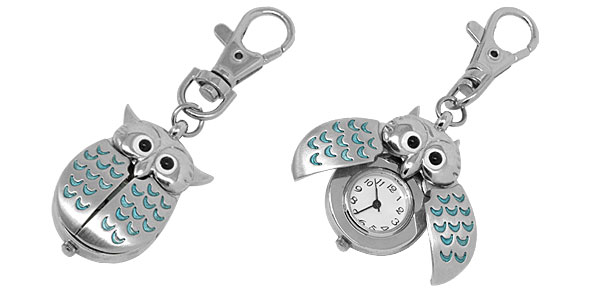 Owl Pendant Key Ring Quartz Travel Pocket Clock Watch