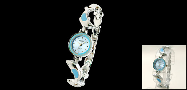 Elegant Girls Ladies Quartz Charming Wrist Watch w/ Dolphin Pattern Band Blue
