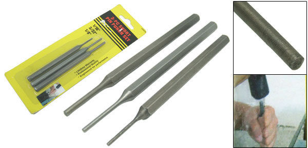 3 Pieces Mechanic's Short Drive Pin Punch Set Engineering Metalwork Hardened Steel