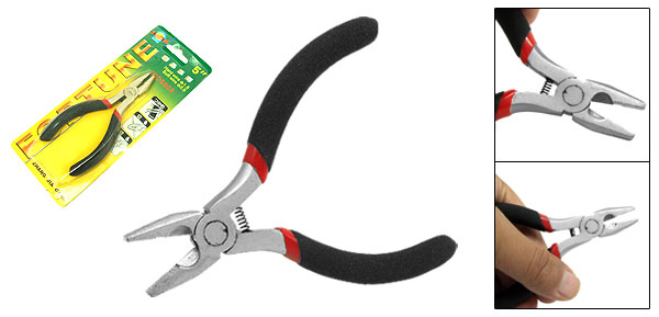 116mm Mini Precision Lineman's Plier Black and Red Handle Silvery