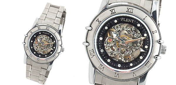 Fashion Silvery Steel Band Round Men's Mechanical Movement Wrist Watch