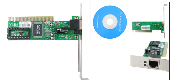 PC 10/100/1000M Ethernet Lan Network PCI Internet Card Green