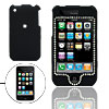 Ornament Silvery Rhinestone Black Plastic Case for iPhone 3G