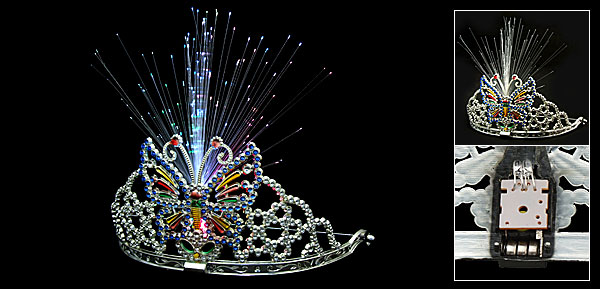Girls' Butterfly Crown Tiaras with Flash Light X'mas Gift