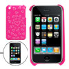 Pink Hard Plastic Case with Heart Design for Apple iPhone 3G