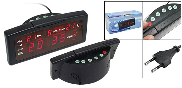 Desktop LED Digital Alarm Clock Thermometer Calendar (EU Plug)