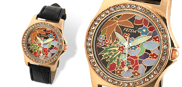 Rhinestone Bloom Colorful Dial Black Leather Band Woman's Wrist Watch