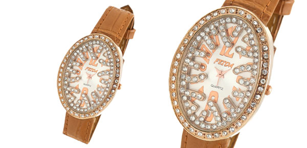 Oval Khaki Leather Rhinestone Lady's Wristwatch