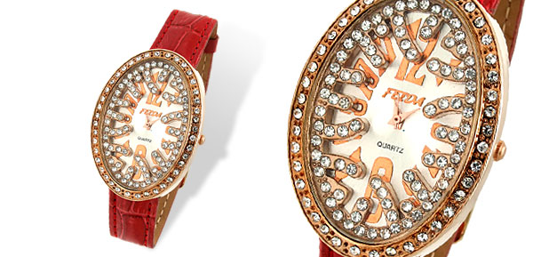 Bird's Nest Shaped Red Leather Rhinestone Lady's Wristwatch