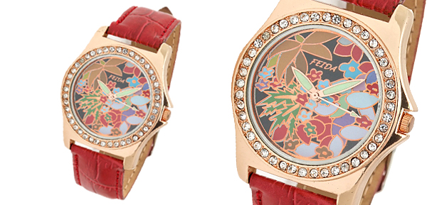 Red Leather Band Rhinestone Bloom Colorful Dial Woman's Wrist Watch