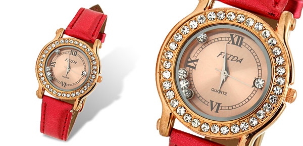 Golden Dial Red Leather Band Rhinestone Woman's Watch