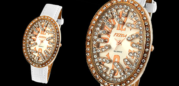 White Leather Rhinestone Bird's Nest Shaped Women's Wristwatch