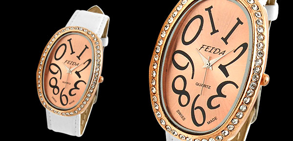 White Leather Band Rhinestone Oval Face Lady's Watch