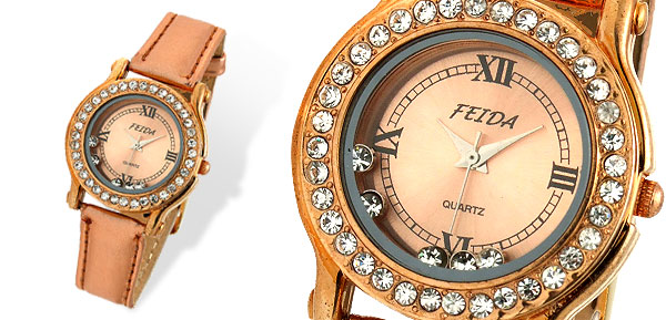 Rose Glod Rhinestone Leather Woman's Wrist Watch