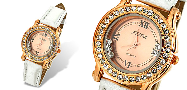 Silvery Leather Band Rhinestone Golden Dial Woman's Watch