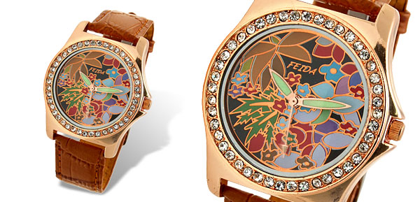 Khaki Leather Band Rhinestone Bloom Colorful Dial Woman's Wrist Watch