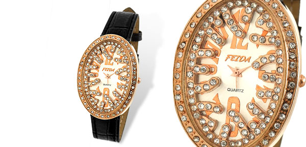 Oval Black Leather Rhinestone Woman's Wristwatch