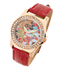 Red Leather Band Rhinestone Bloom Colorful Dial Woman\'s Wrist Watch