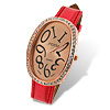 Rhinestone Red Leather Band Oval Dial Lady's Watch