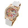 White Rhinestone Leather Bloom Colorful Dial Woman's Wrist Watch