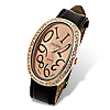 Black Leather Band Rhinestone Oval Face Lady's Watch