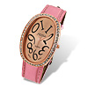 Oval Dial Pink Leather Band Rhinestone Lady's Watch