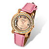 Golden Dial Pink Leather Band Rhinestone Wonman\'s Watch