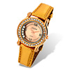 Shiny Golden Leather Rhinestone Wonan's Watch