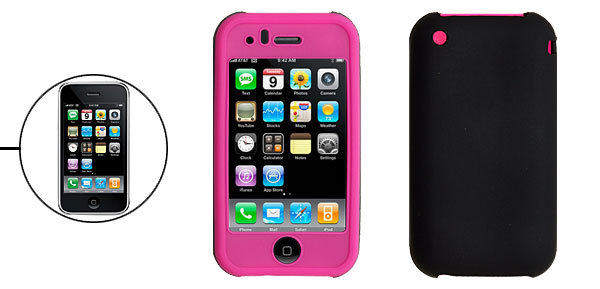 Hot Pink Black Silicone Protective Case for Apple iPhone 3G