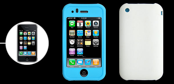 Baby Blue and White Silicone Protective Case for Apple iPhone 3G